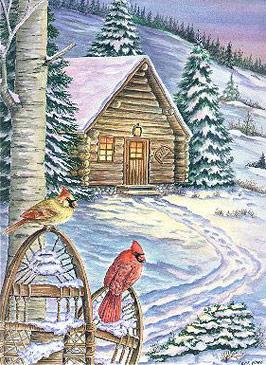 Log Cabin Cardinals - Carol Sabo (1583913385)